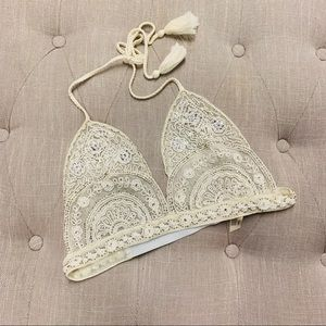 Free People Ivory Sequined Halter Style Bralette S